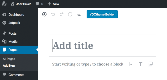 Open YOOtheme Pro on Gutenberg Pages