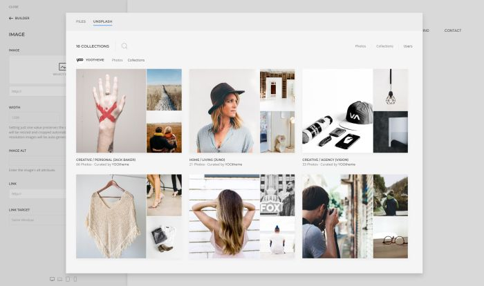 YOOtheme Unsplash Collections