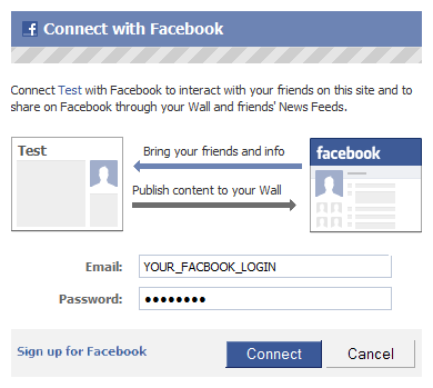 Setup Facebook connect