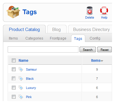 Manage tags
