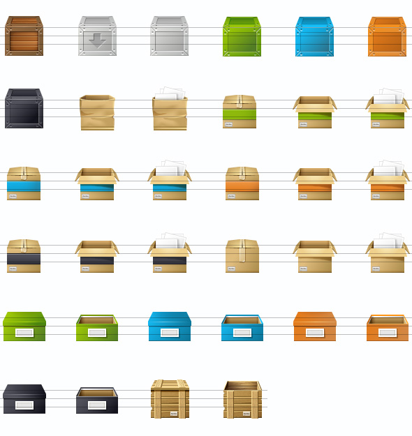All Icons of the Boxes Set