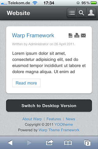 Warp6 Mobile Theme – Retina Support, Drop-Down Menu and more