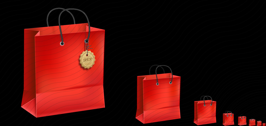 Shopping Bag Red Icon